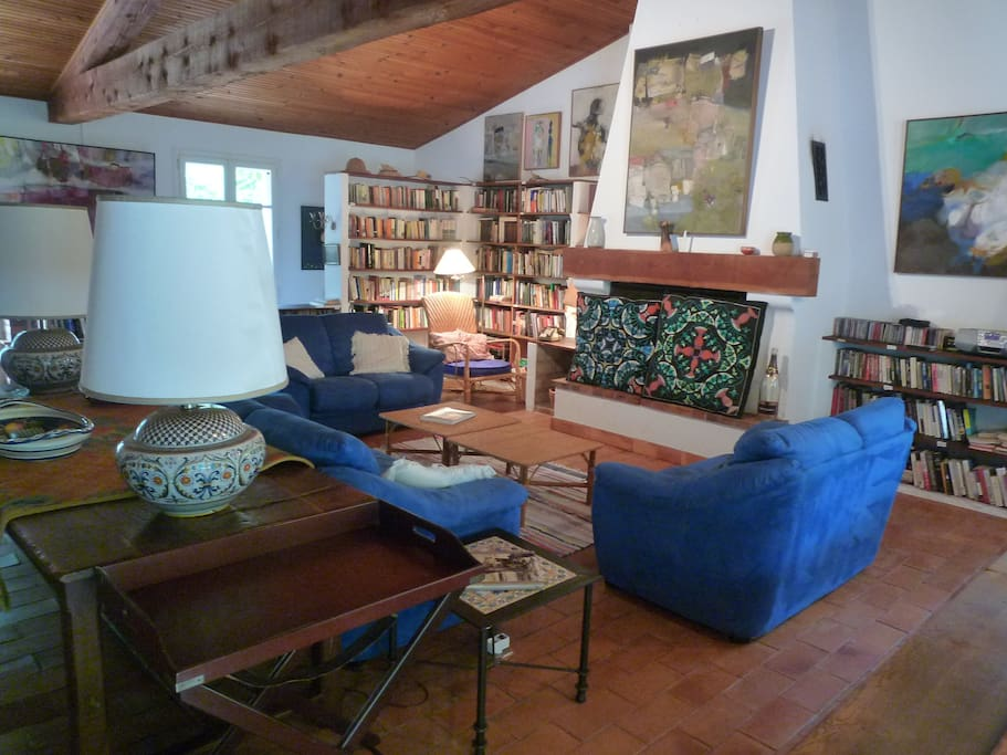 Living room with view of library (as seen from patio side of the house).