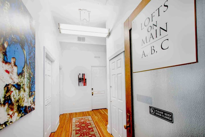 Hallway Lofts A, B, and C. Each Loft has a separate key pad lock. Each have separate beds and full bath.
