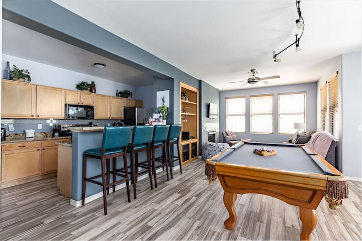 Pool table and breakfast bar