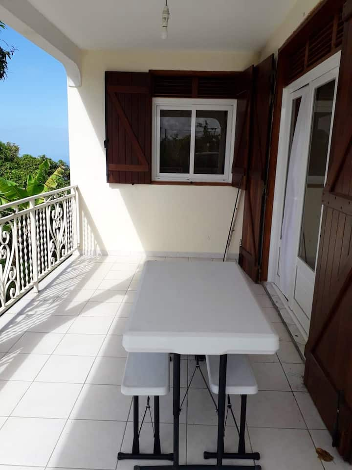 House with 3 bedrooms in Vieux-Habitants, with wonderful sea view, terrace and WiFi - 20 km from the beach