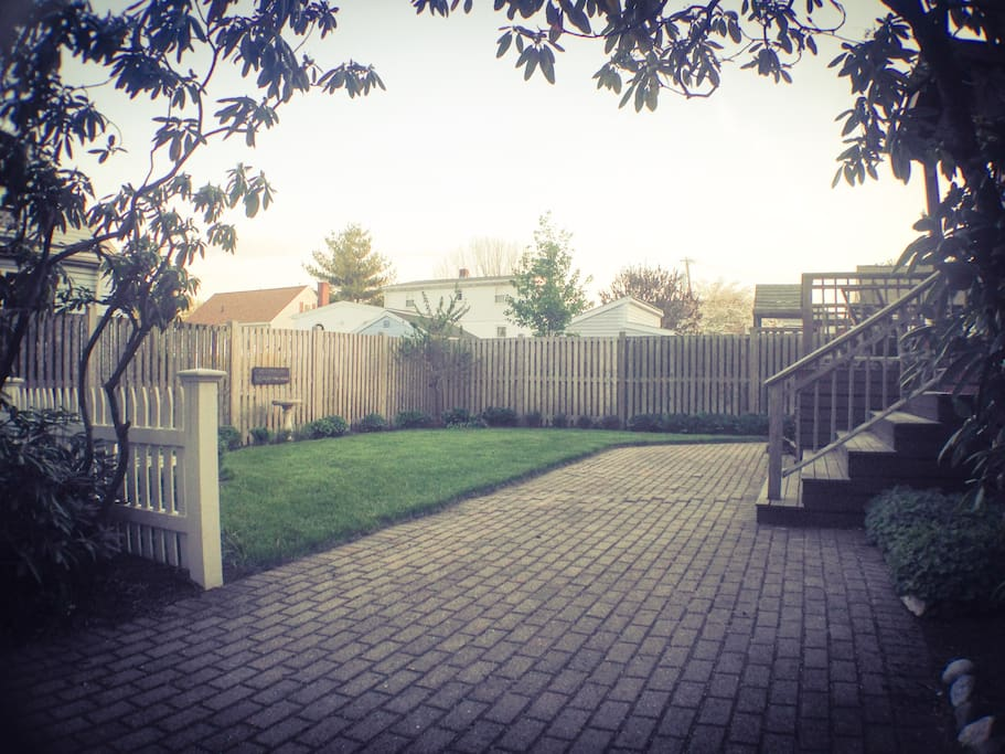 side yard and patio