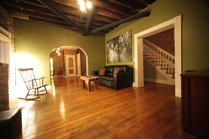 Downstairs living room.  Lots of natural light with light blocking shades for privacy when you want it.