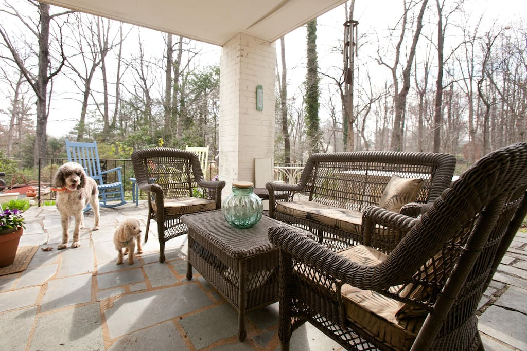 An inviting porch for afternoon naps or reading.