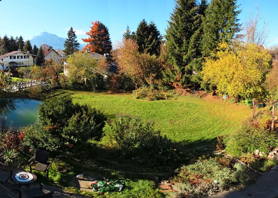 Big garden whith terrace and amazing mountain view