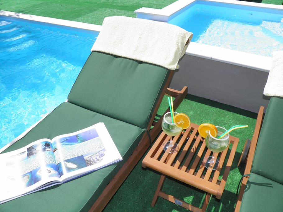 deck chair by the pool