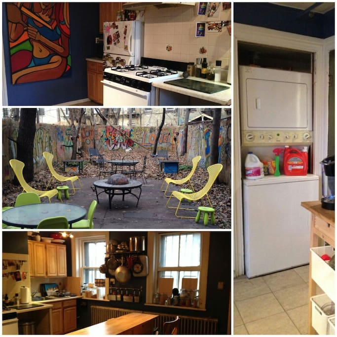 1,000sqft backyard with gas grill , large fully equipped eat in kitchen, washer dryer in unit,