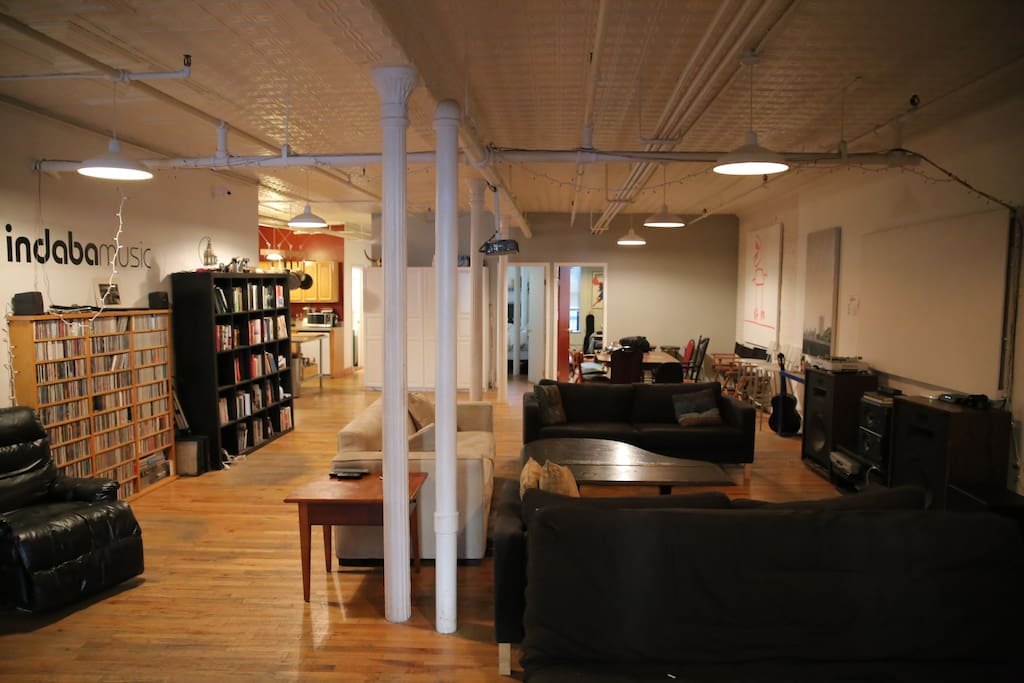 Shared large loft-style common space.