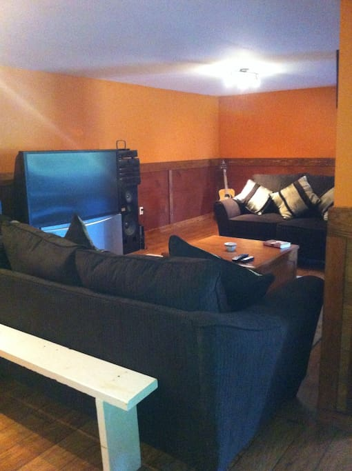 Large living area with 57 inch TV