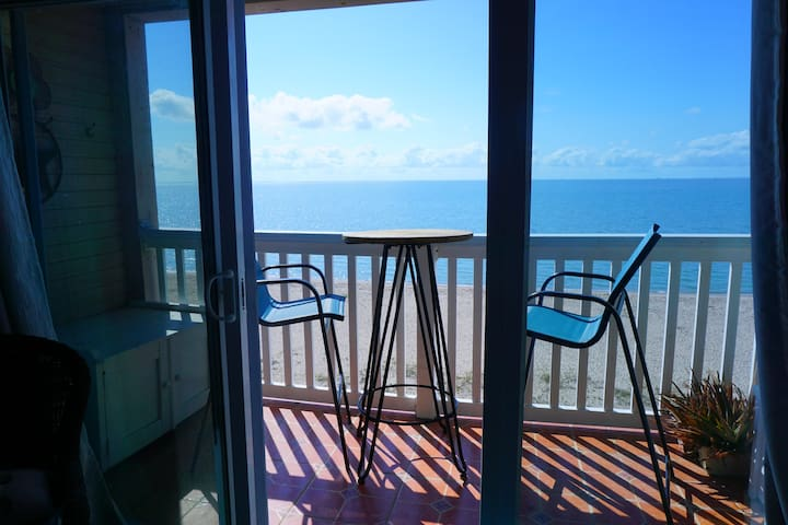 Sliding glass door out to balcony