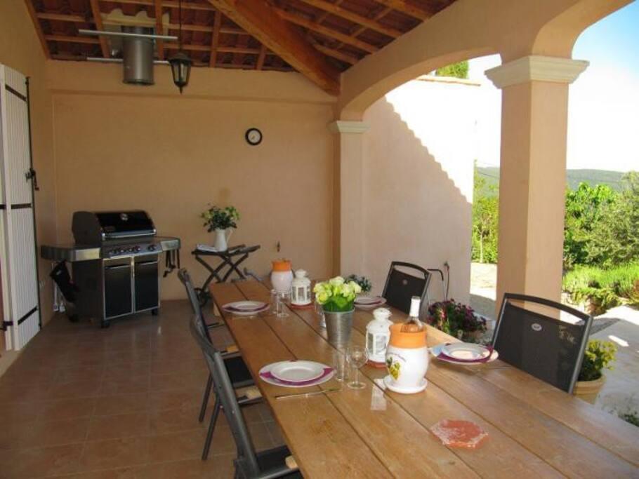 Schaduwrijk overdekt terras met grote eettafel en Weber buitenkeuken (gas).