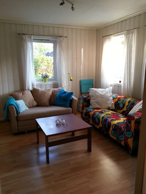 Livingroom, beige sofa is a double sleepingsofa