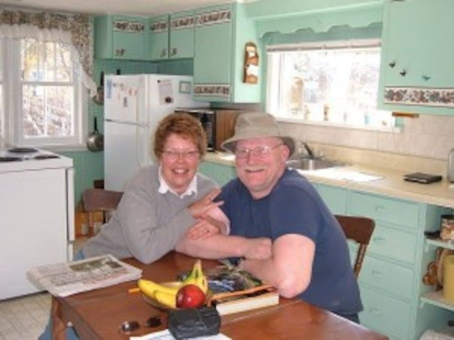 Your Hosts:  Judy & Glenn Black, in the kitchen.