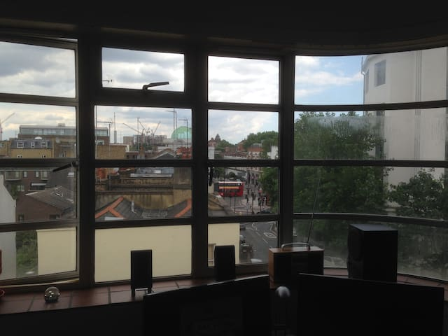 The view from the living area down to Mornington Crescent Tube station and the start of Camden High Street.