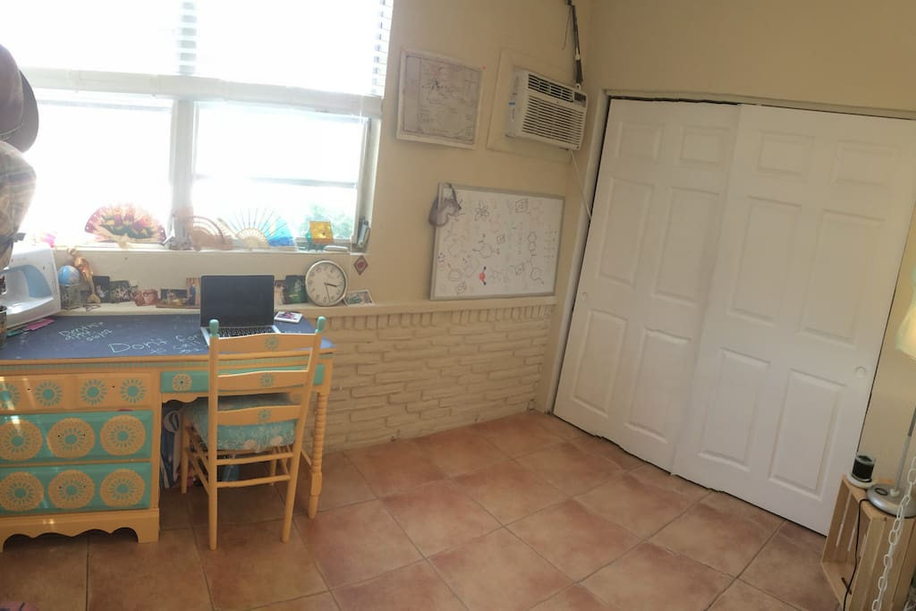 Office space/second bedroom. We have a queen size air mattress for your use.