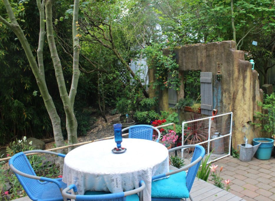 A dining area on the deck
