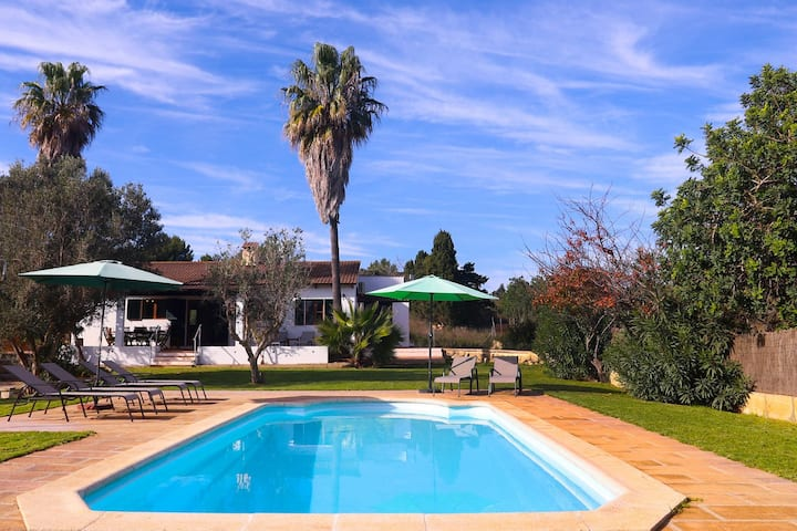 Villa Son Servera with Mountain View, Wi-Fi, Garden, Terraces & Pool: Parking Available, Pets Allowed