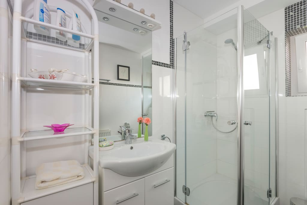 Modernes Bad, Tageslicht, große Echtglasdusche.