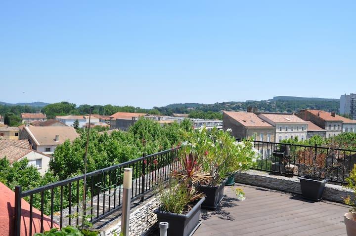 Superbe appartement et sa terrasse sur les toits !
