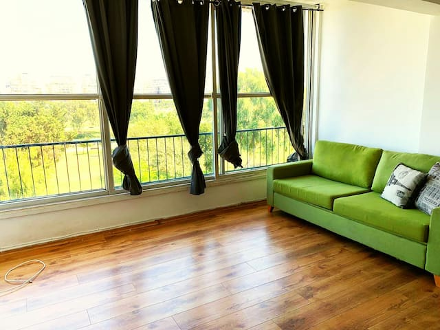 Living room with amazing Yarkon Park view