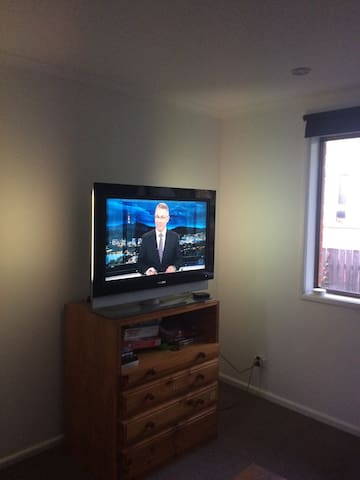Large TV with Apple TV box to watch Netflix