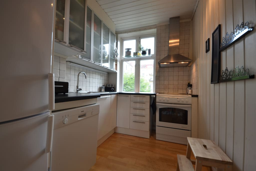 Kjøkken med alt du trenger til matlaging og oppvaskmaskin