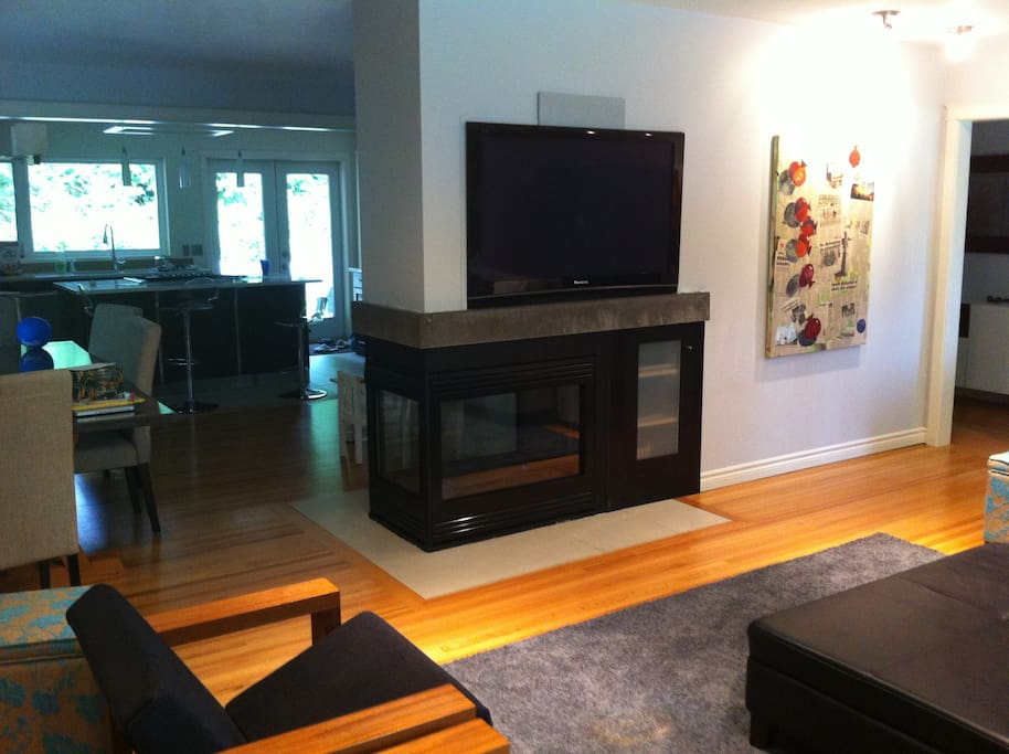 3 sided fireplace, open concept