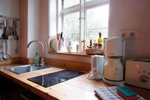 Küche mit Ceranfeld, Kühlschrank und Spülmaschine