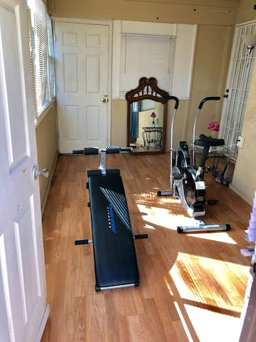 Cross Cycle Upright Exercise Bike and crunch bench