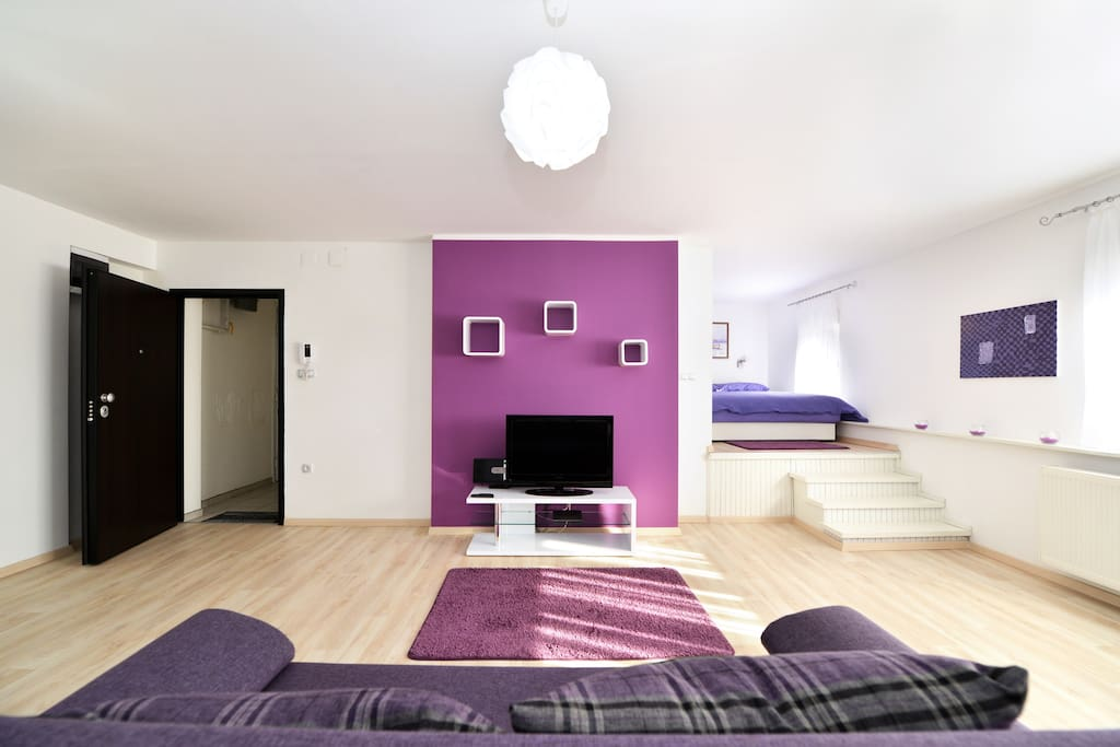 Entrance in the apartmant with living room and place for sleep