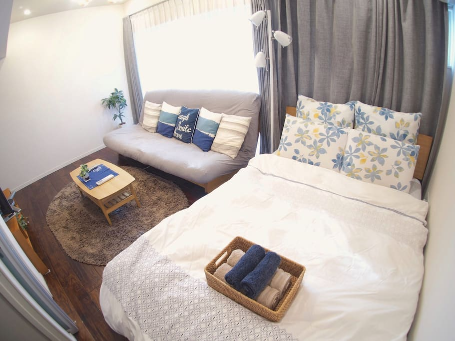 Cozy sofa and double bed