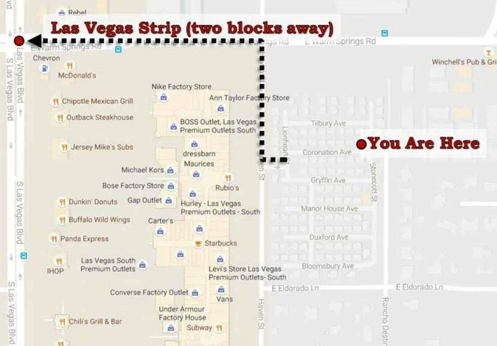 Few blocks from the strip and one block from the Las Vegas Shopping Mall....walking distance!