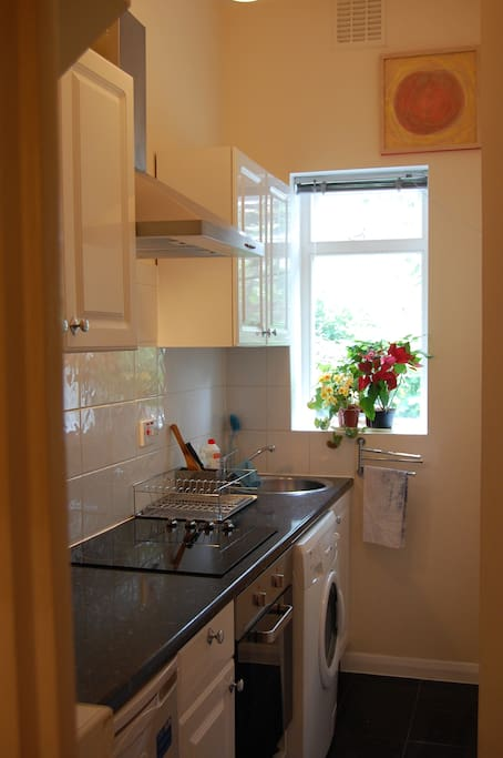 The kitchen is clean, modern, with clothes washing machine, small fridge.