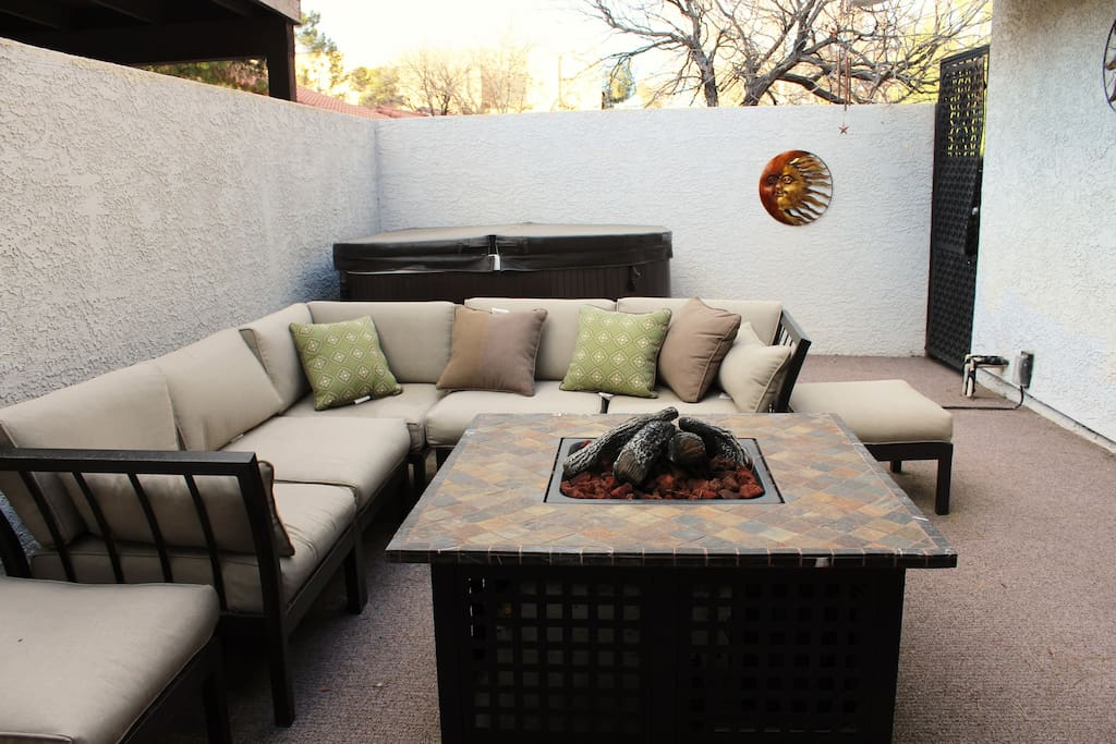 Private courtyard with gas fire pit and 6 person hot tub.