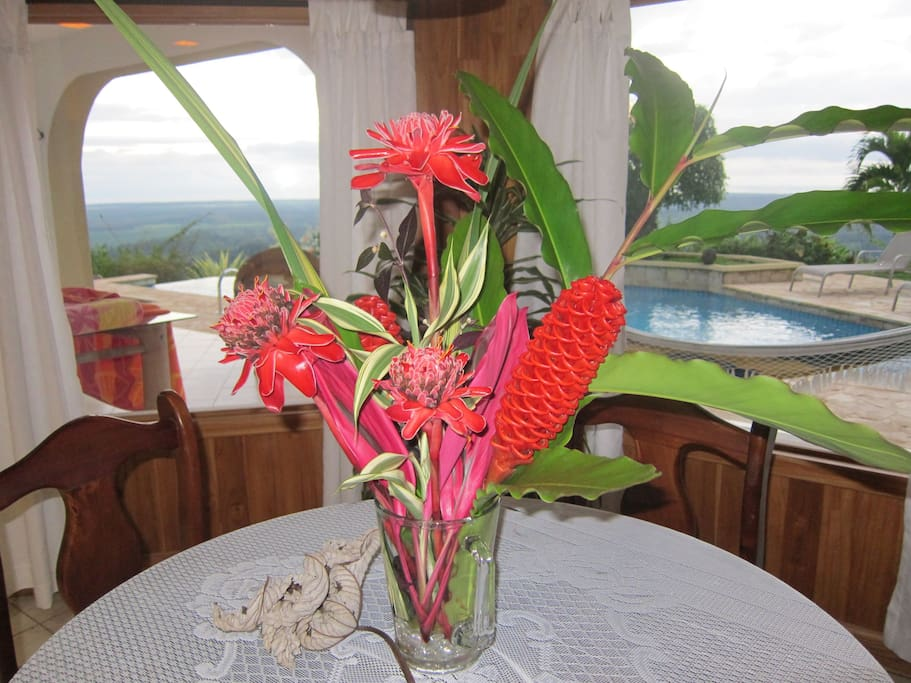 Flowers from the property arranged by a guest.