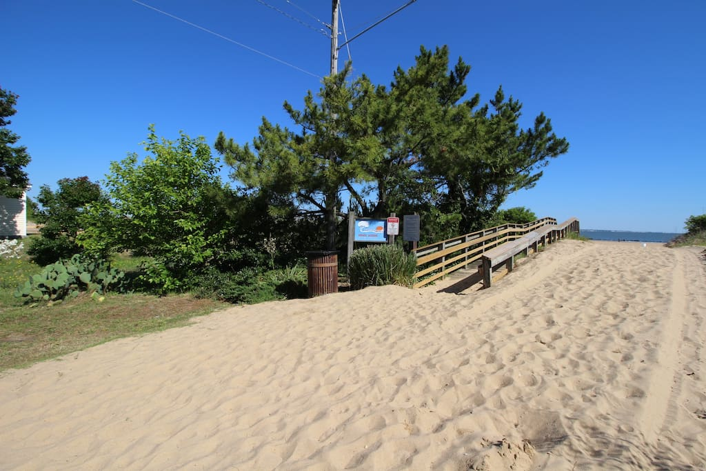 Easy beach access via dune walkover located at end of driveway.