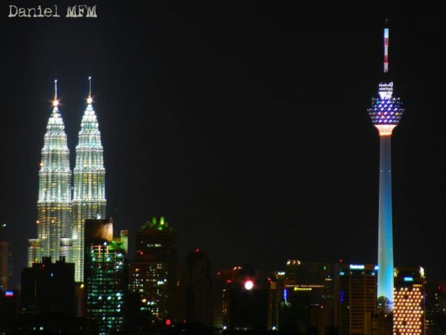 With an awesome view of the Petronas Twin Towers and to their right, the KL Tower-- it changes colour throughout the night.