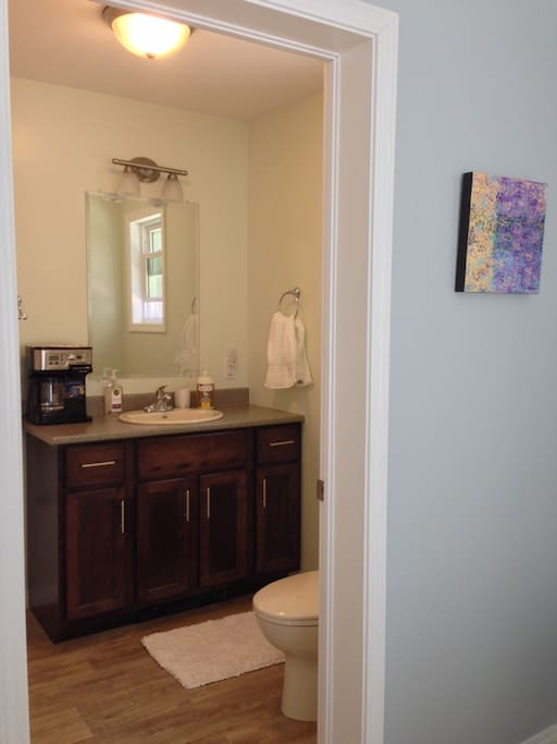 Private master bath with coffee maker