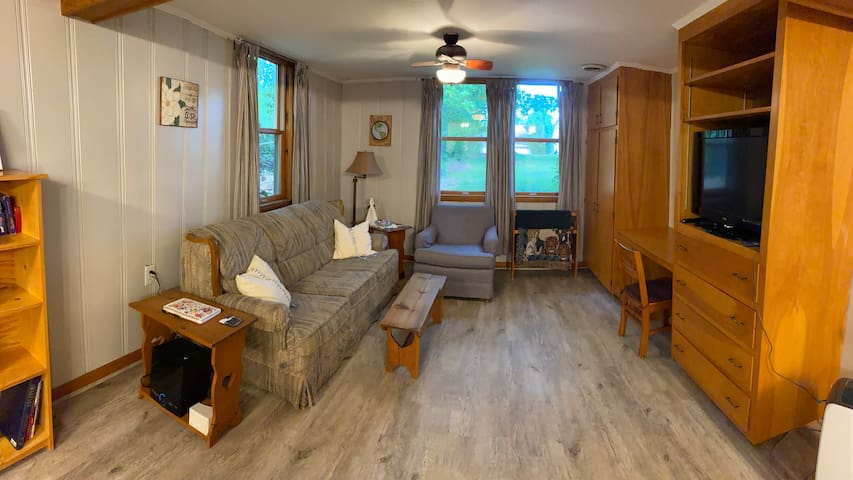 Living room includes a sofa/sleeper, comfy chair, office desk and entertainment area.  Includes Wi-Fi and Smart TV with Roku.  We have a dehumidifier in the apartment to help maintain appropriate moisture level.