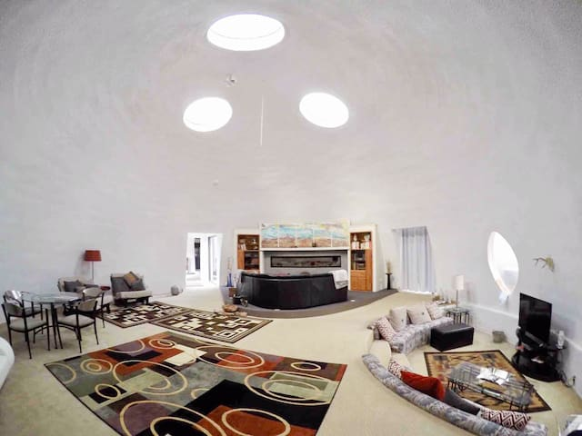 Wide angle GoPro camera captures much of the 1,000 square-foot great room dome. The three skylights are actually centered over the top of the dome.