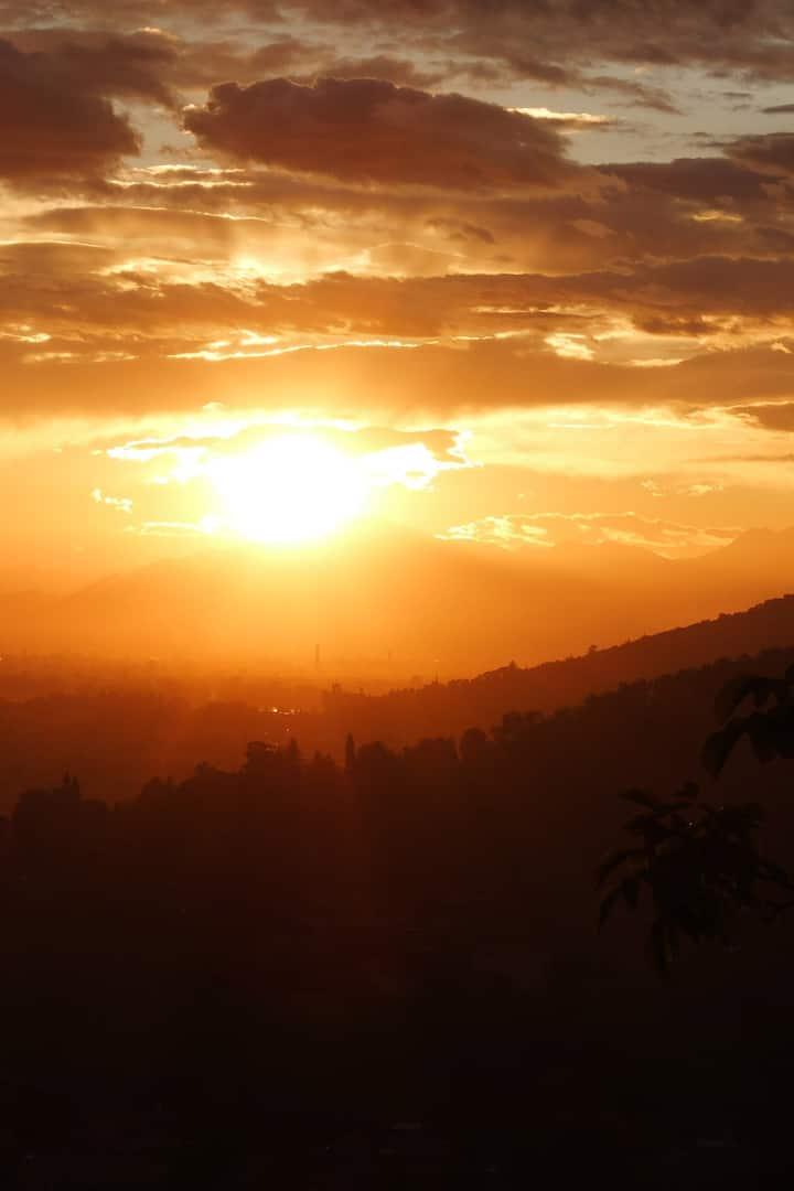 Il tramonto visto dalla cantina