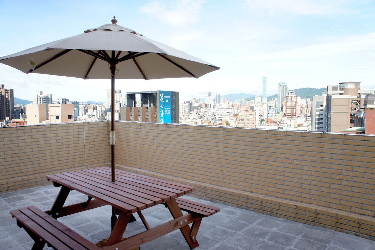 Enjoy Taipei city view at our balcony, relax and chill.