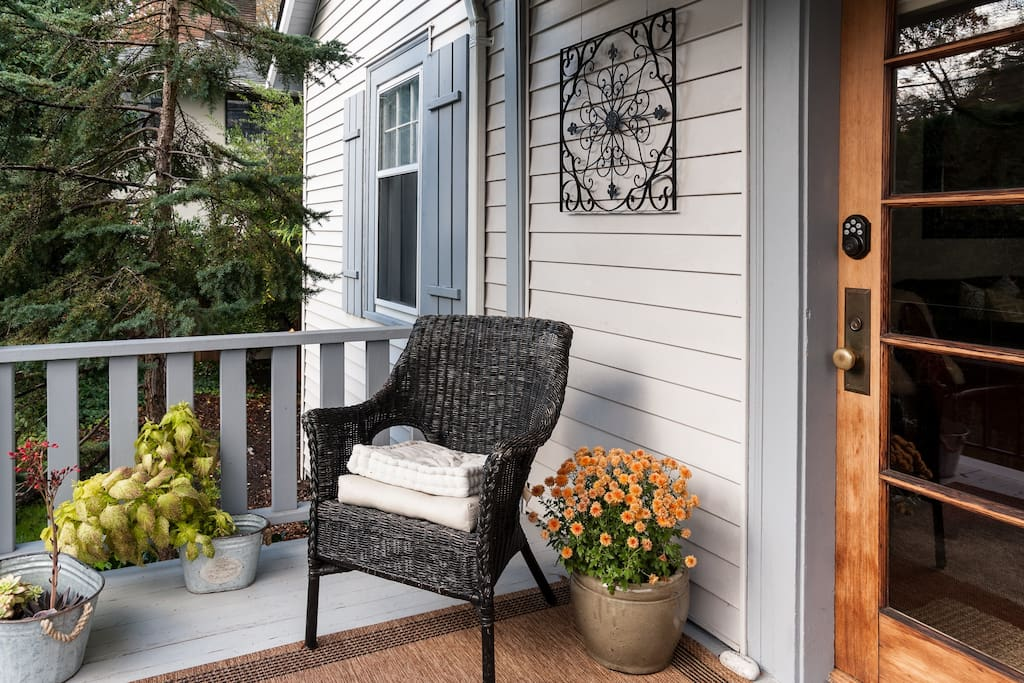Enjoy a morning coffee on the comfortable covered porch