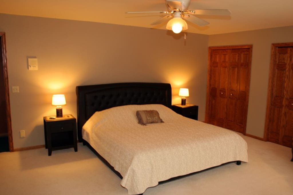 Brianna Suite features a King size bed with Casper memory foam mattress.  Remote controlled ceiling fan.