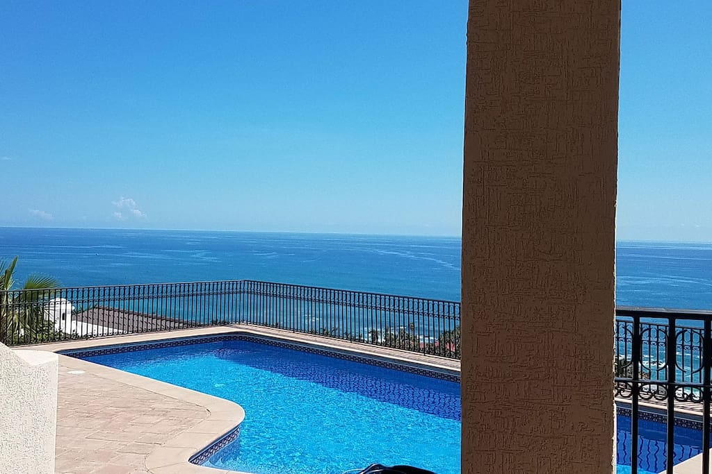 Heated salt water pool with Sea of Cortez view.