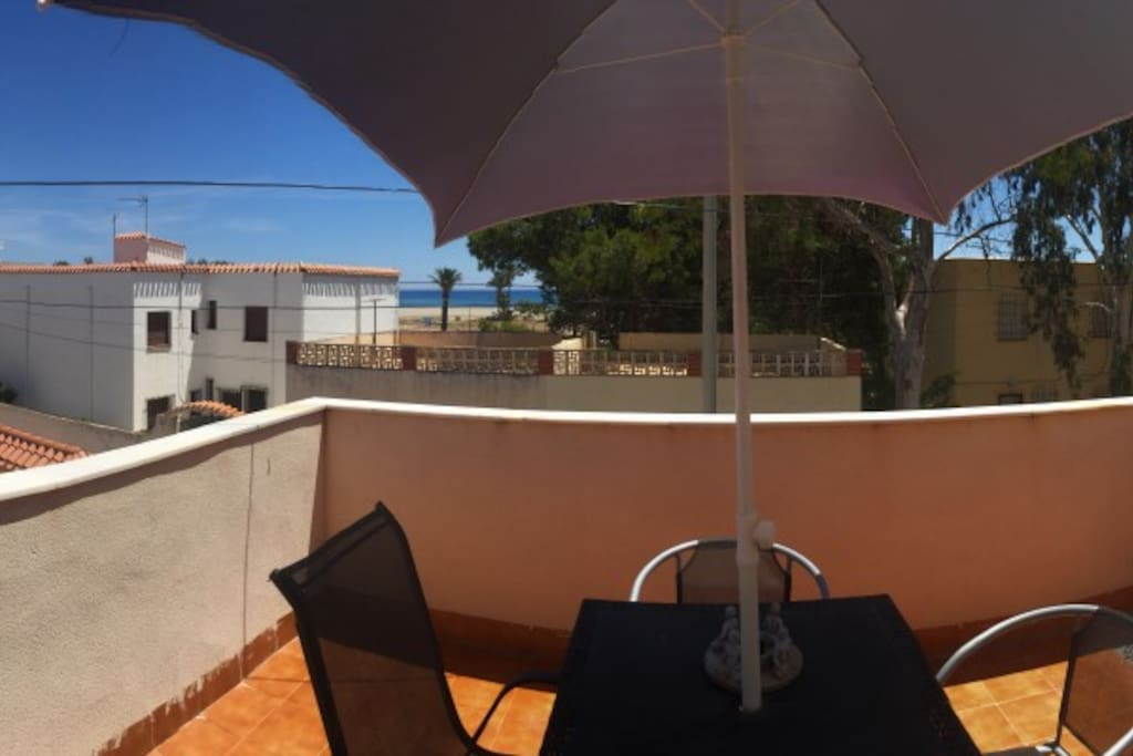 First Floor roof terrace, stunning in the morning to catch the sun rising.