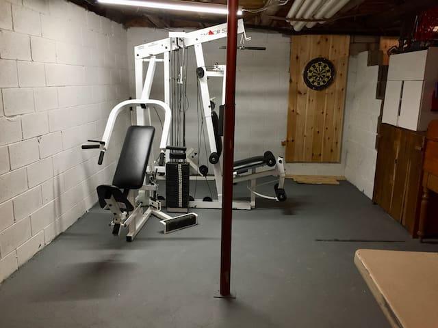weight machine and dart board