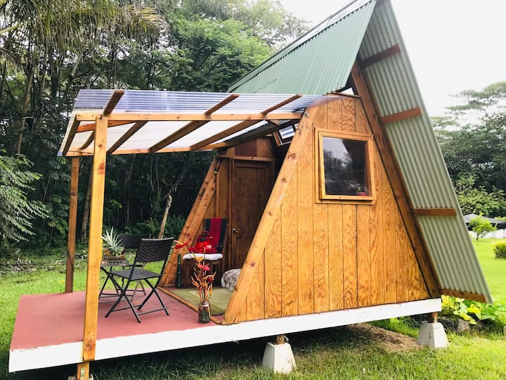 Tiny  A Frame with a Big Deck, OFF Grid Glamping