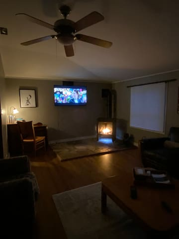 Cozy movie night in front of the fireplace