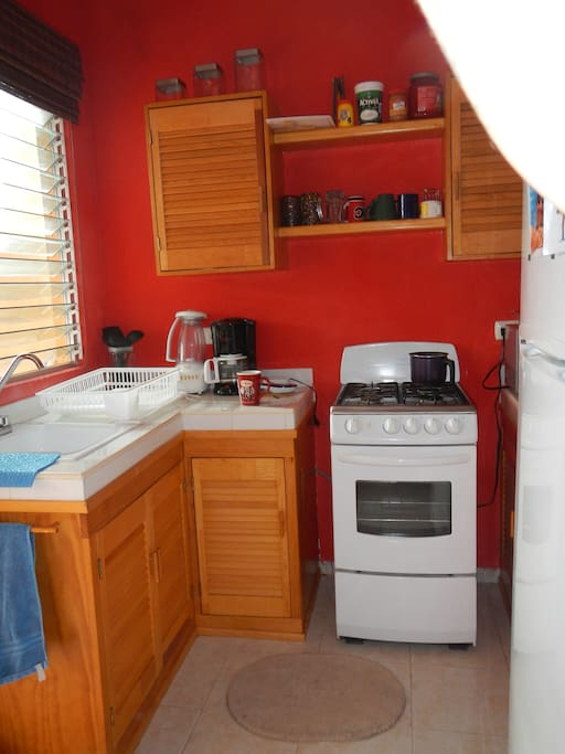 Kitchen equipped with gas stove, fridge/freezer, blenders, toaster, and all necessary amenities.