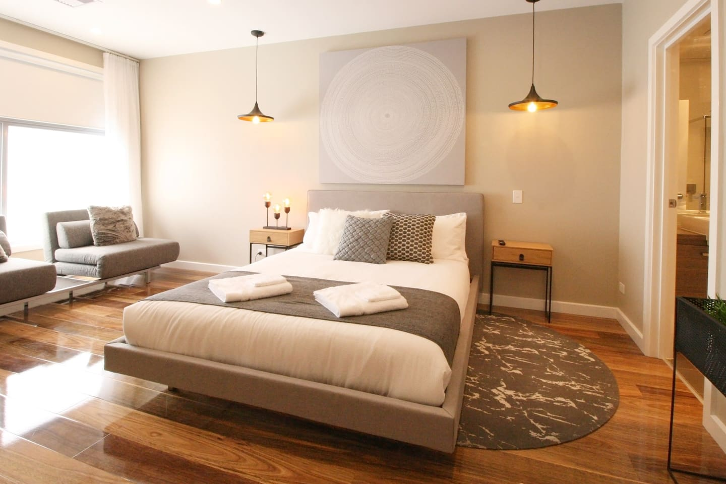 Bedroom 1 can sleep 4 adults, the couch folds out to 2 king single beds or a king..